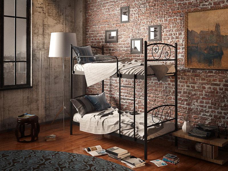 Двухъярусная кровать Виола Черный Бархат 80*190 (Tenero TM)