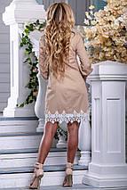 Нарядное платье мини прямого кроя с кружевами рукав на резинке цвет светлый кофе, фото 3