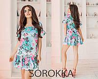 Легкое летнее платье лен в цветы короткий рукав Размеры: 42,44,46 48 50 52 54
