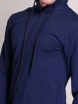 Толстовка, с капюшоном на змейке, темно синяя, фото 3