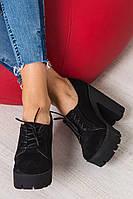 Женские туфли ботильоны оптом на шнуровке платформа с каблуком натуральная замша
