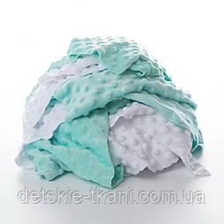 Плюш Minky лоскуты для рукоделия мятно-белого цвета, 0.5 кг