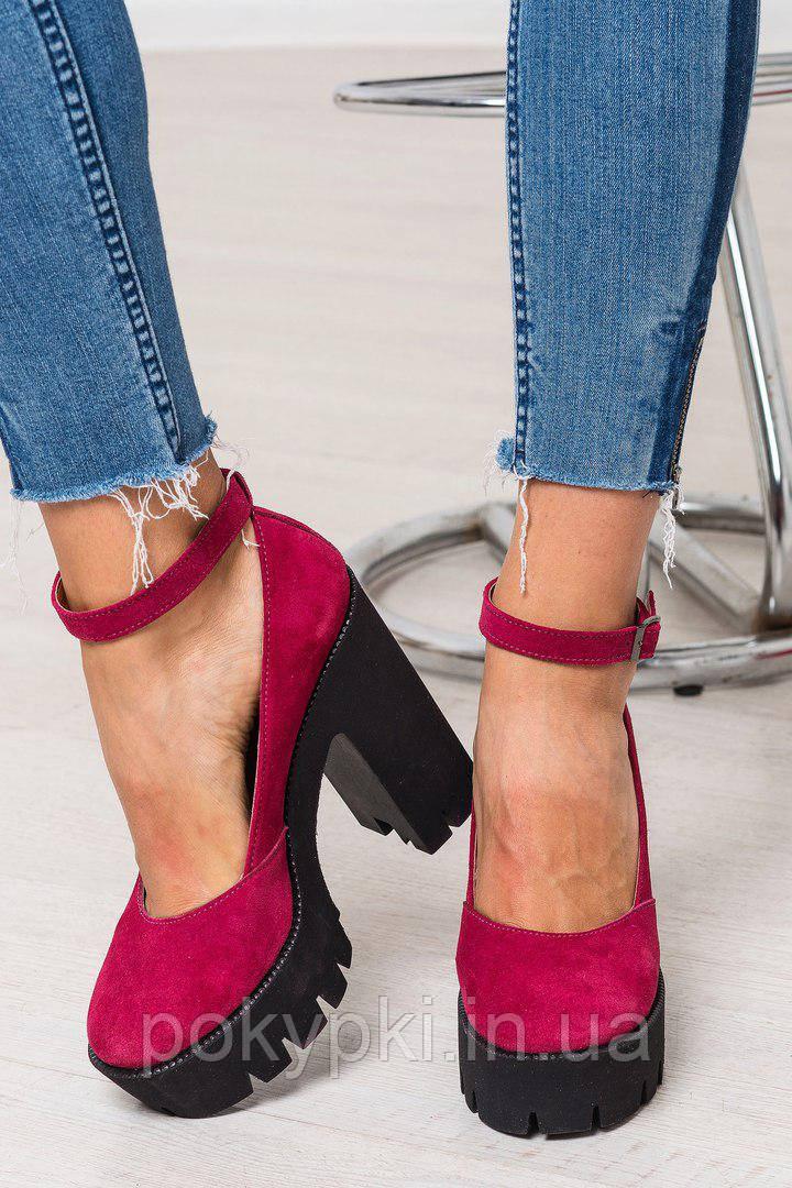 29eb97150 Стильные яркие туфли оптом женские на платформе с каблуком натуральная замша