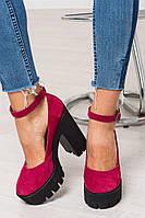 Стильные яркие туфли оптом женские на платформе с каблуком натуральная замша