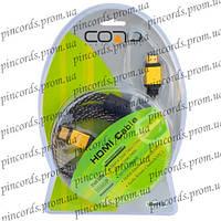 """Шнур HDMI (штекер-штекер), v.1.3, """"позолоченный"""", диам.-7мм, с фильтрами, в блистере, 1м"""
