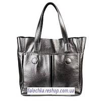 Кожаная женская сумка Палермо никель(серая)