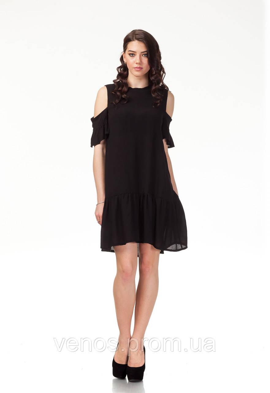 Трендовое платье с открытыми плечами. П118
