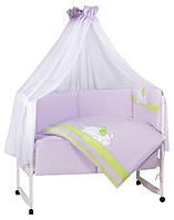 Детская постель Tuttolina Sleeping Cat (7 элементов) 65 светлосиреневый-салатовый (кот спит)