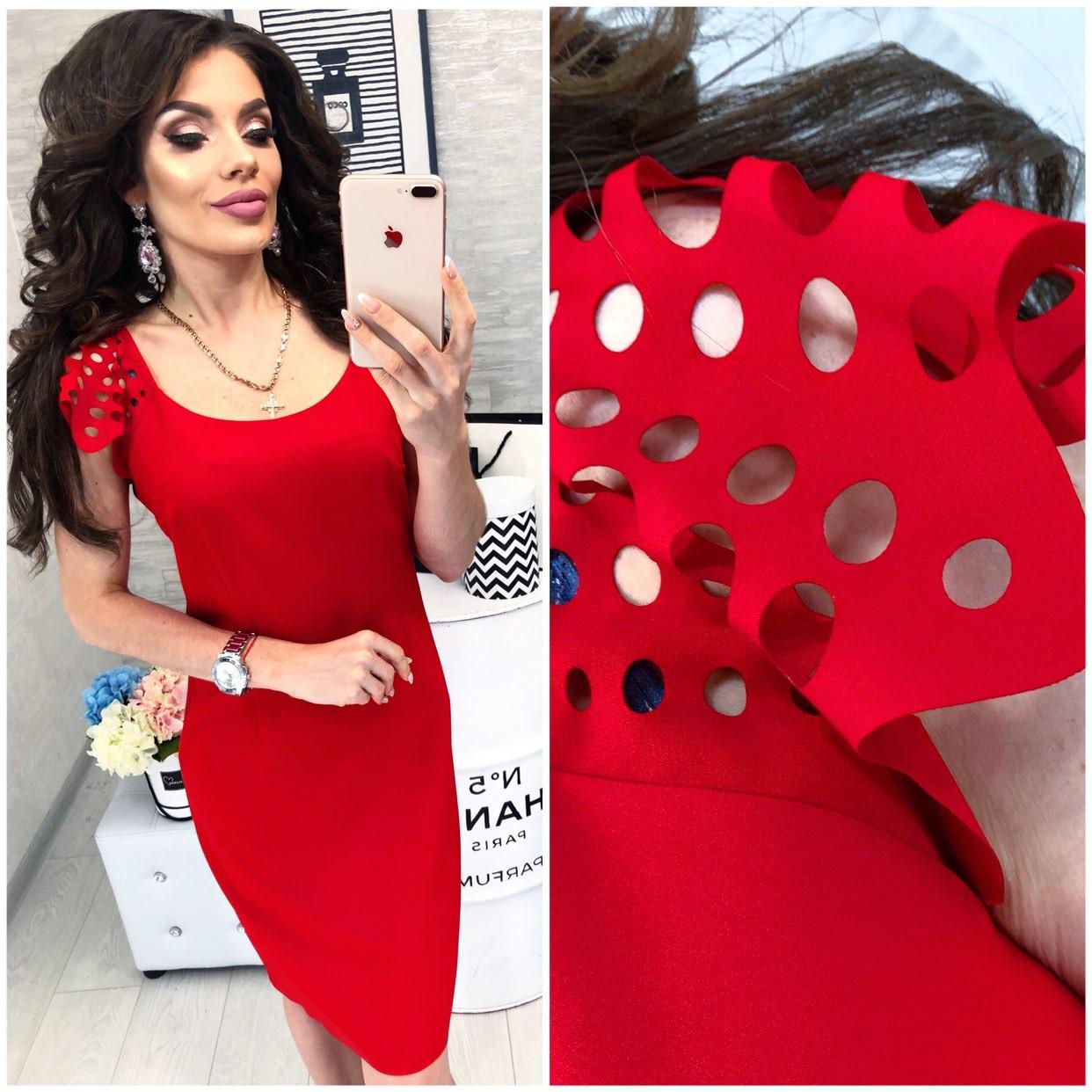 Платье летнее с выбитым рисунком, модель 106, цвет - красный