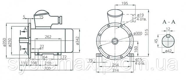 Взрывозащищенный электродвигатель АИМ 160М2 (АИММ 160М2)