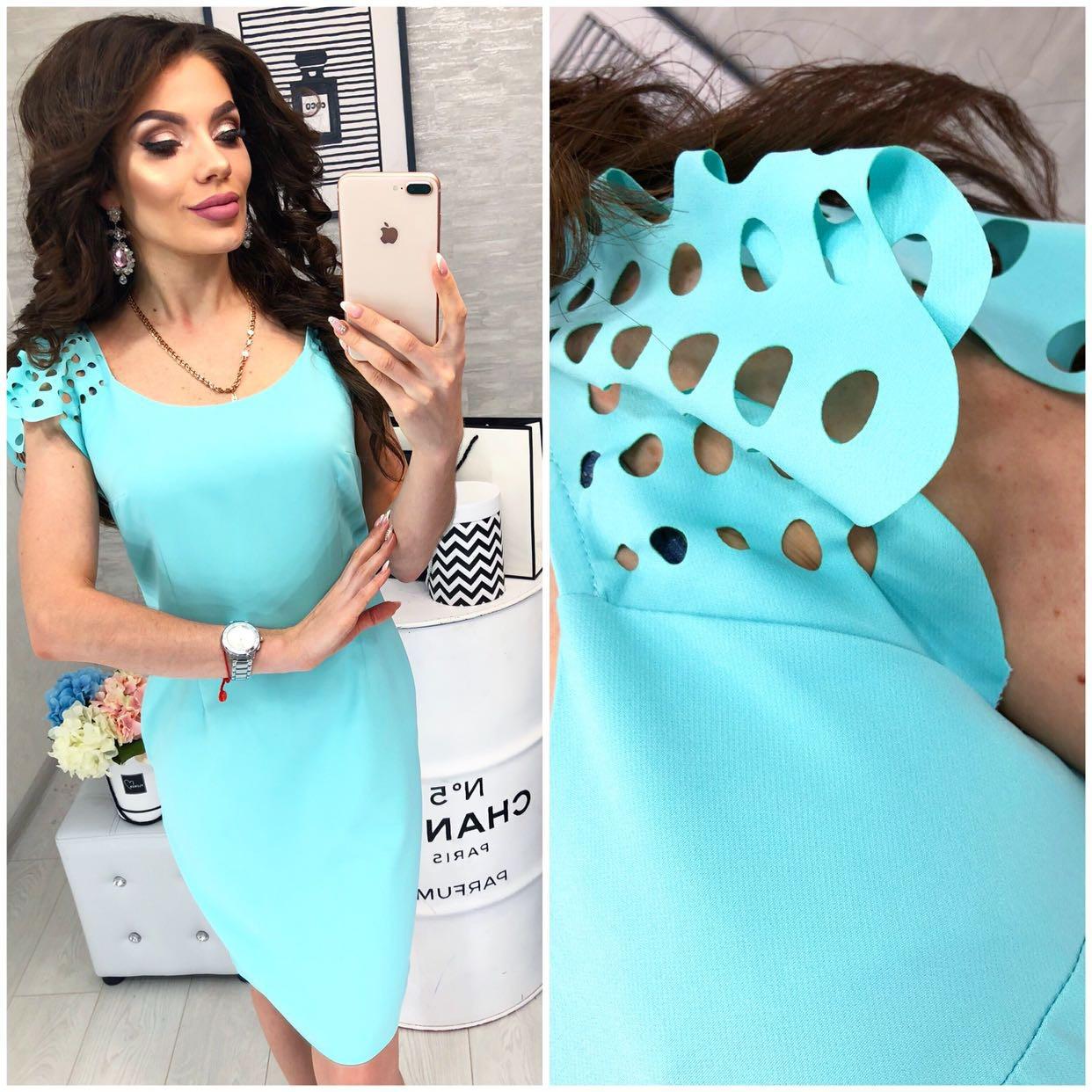 Платье летнее с выбитым рисунком, модель 106, цвет - бирюза