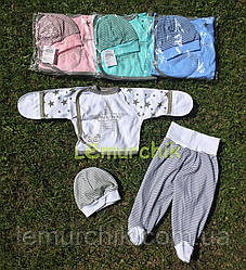 Комплект для новонародженого (сорочечка+повзунки+шапочка) Зорепад 56р. білий