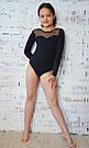 Купальник для танцев и гимнастики со вставкой из стрейч-сетки черный, фото 3