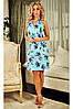 Літня сукня Наталі блакитна, льон. S-3XL
