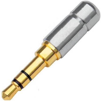 Штекер 3,5 мм (Джек) gold трьохконтактний металевий корпус, фото 2