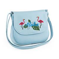 Сумочка Габриела с вышивкой Фламинго голубой флай_склад, фото 1