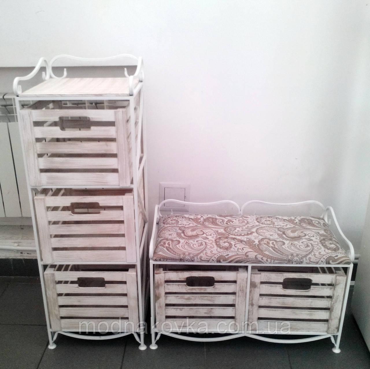 Диван-этажерка лавка кованая с 2 ящиками, белая