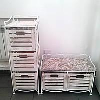 Диван-этажерка лавка кованая с 2 ящиками, белая, фото 1