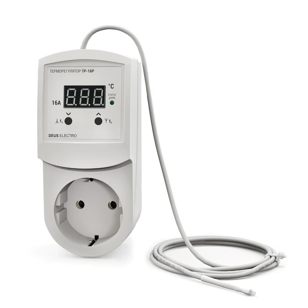 Терморегулятор, регулятор температуры цифровой в розетку ТР-16Р (16А, 220В)