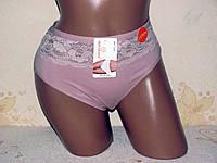 Трусы женские большого размера с кружевом, хлопок  48-56р., фото 1