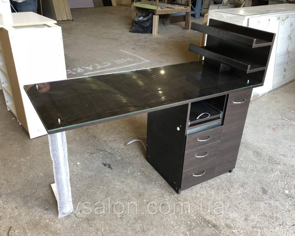 Стол для маникюра со стеклом на столешнице и УФ лампой V227