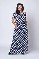 Платье мод №504-3, размер 52-54,54-56,56-58 темно-синее в клетку