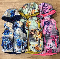Двухсторонние жилеты для девочек на меху оптом, Grace, 116-146 см,  № G70865, фото 1