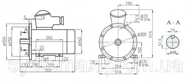 Взрывозащищенный электродвигатель АИМ 160М8 (АИММ 160М8)