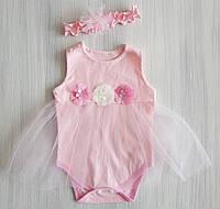 Боди-платье с повязкой для девочки