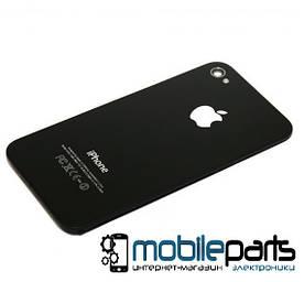 Задняя панель корпуса (крышка) для Apple iPhone 4S (Качество ААА) (Черная)