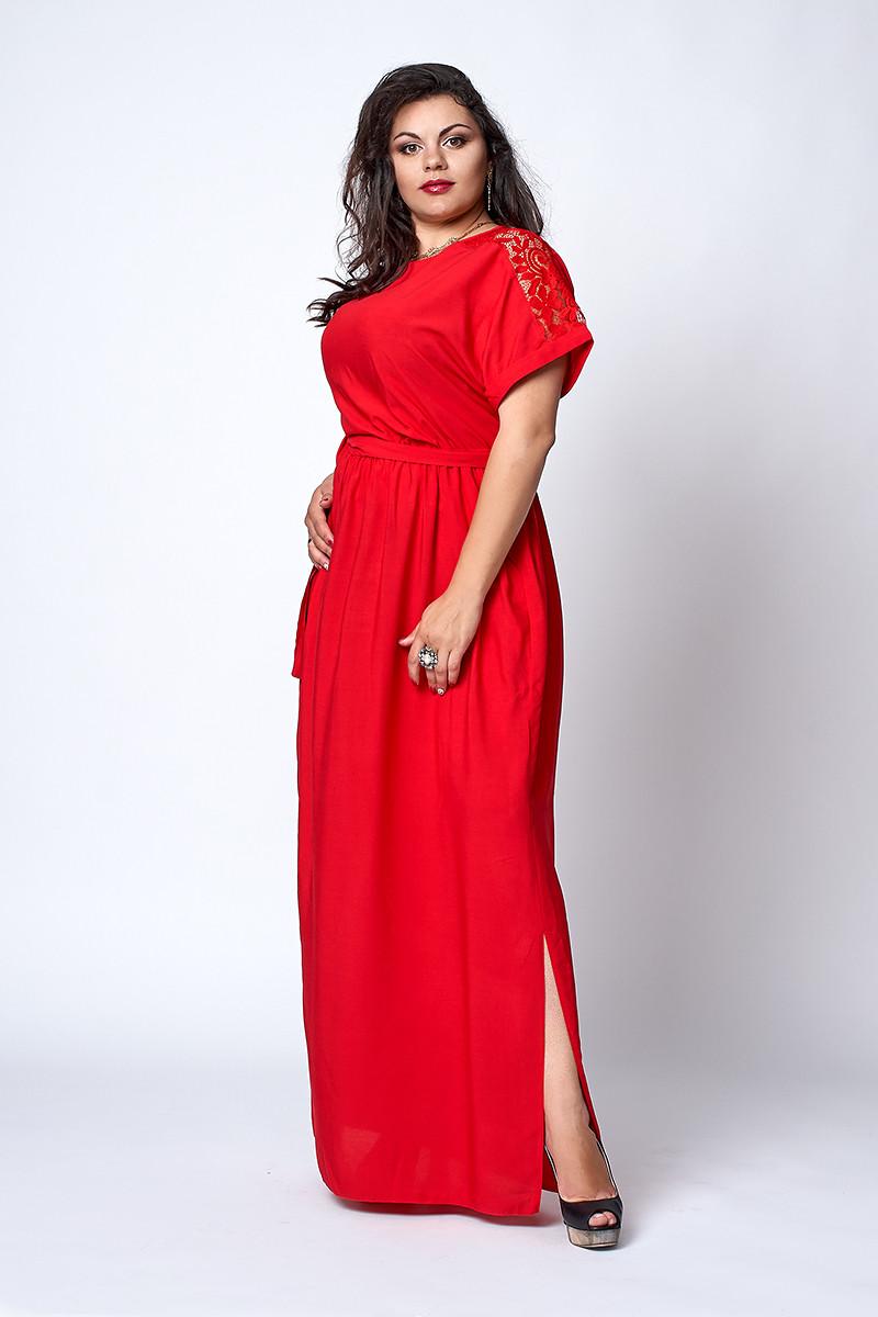 Платье мод №561-1, размер  54 красное