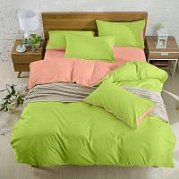 Подростковый комплект постельного белья Сатин Премиум Коралл + Салатовый
