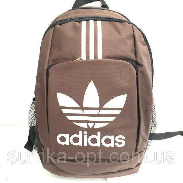 Рюкзаки спорт стиль текстиль Adidas (коричневый+белый)31*43