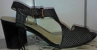 Босоножки женские на среднем каблуке из натуральной замши от производителя модель СД-18