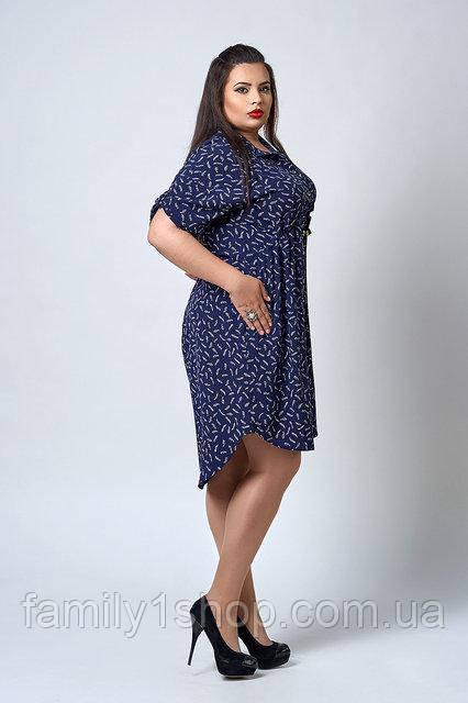 d75cc5aad1d Летнее платье-рубашка большого размера с удлиненной спинкой ...
