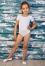 Купальник для танцев и гимнастики с коротким рукавом белый, фото 3