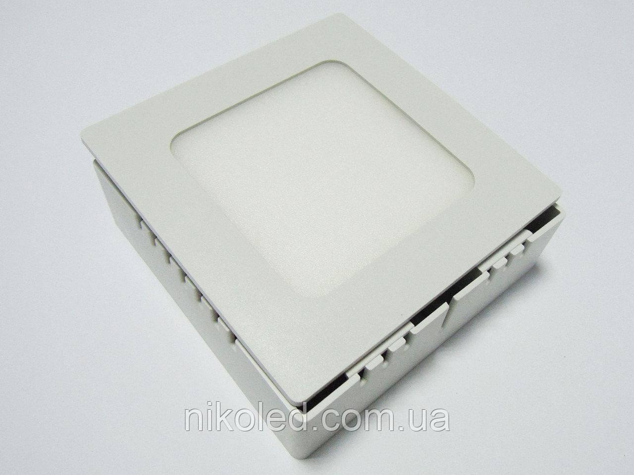 Светильник накладной LED 6W квадрат металл Теплый белый