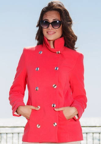 Женское двубортное укороченное пальто из кашемира, фото 2
