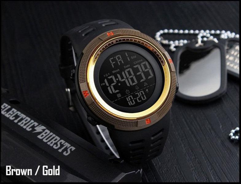 Військові тактичні спортивні годинник Skmei 1251 (Кава з золотом) Водонепроникність - 5ATM!
