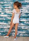 Купальник для танцев и гимнастики со вставкой из стрейч-гипюра белый, фото 3