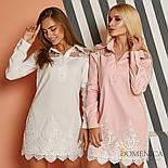 Женское прямое платье-рубашка с кружевом (3 цвета), фото 2