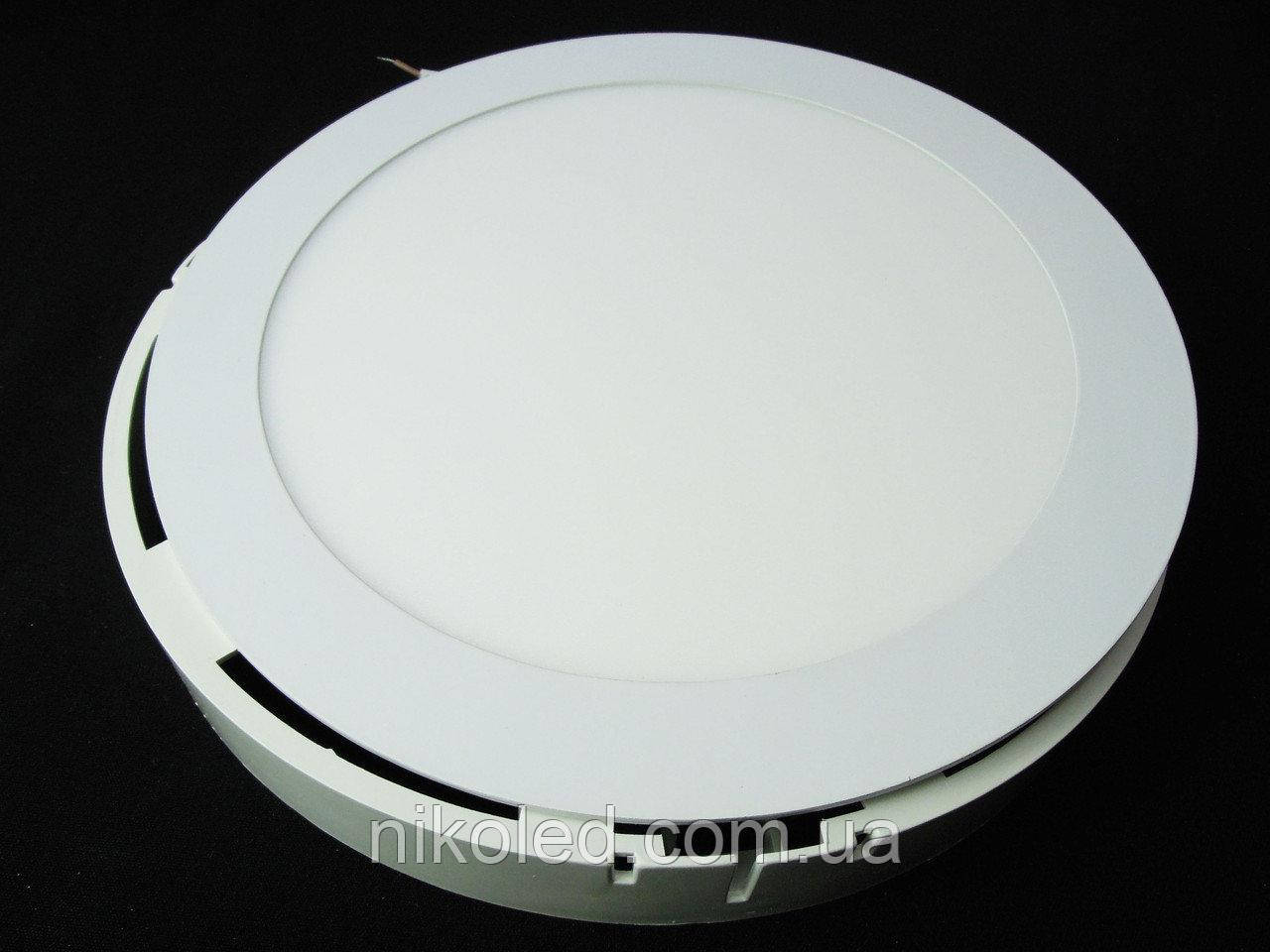 Светильник накладной LED 18W круг 3000К пластик Теплый белый