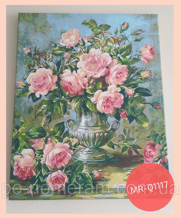 раскраска по номерам розы в вазе