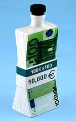 Пачка 100 евро - графин штоф 0,25 л. (пачка денег MSE)