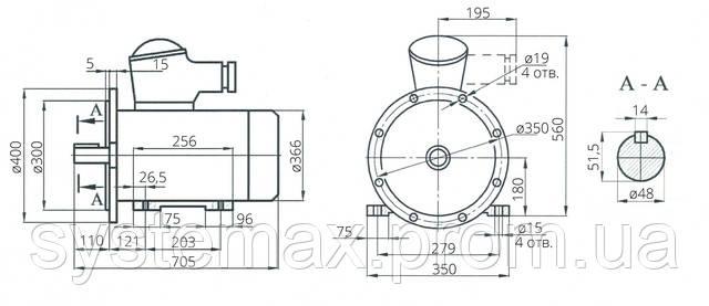 Взрывозащищенный электродвигатель АИМ 180S2 (АИММ 180S2)