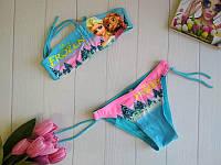 Раздельный купальник на завязках для девочки Холодное сердце 28-36 р, фото 1