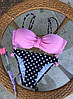 Купальник женский раздельный розовый с пуш ап и трусами в горошек