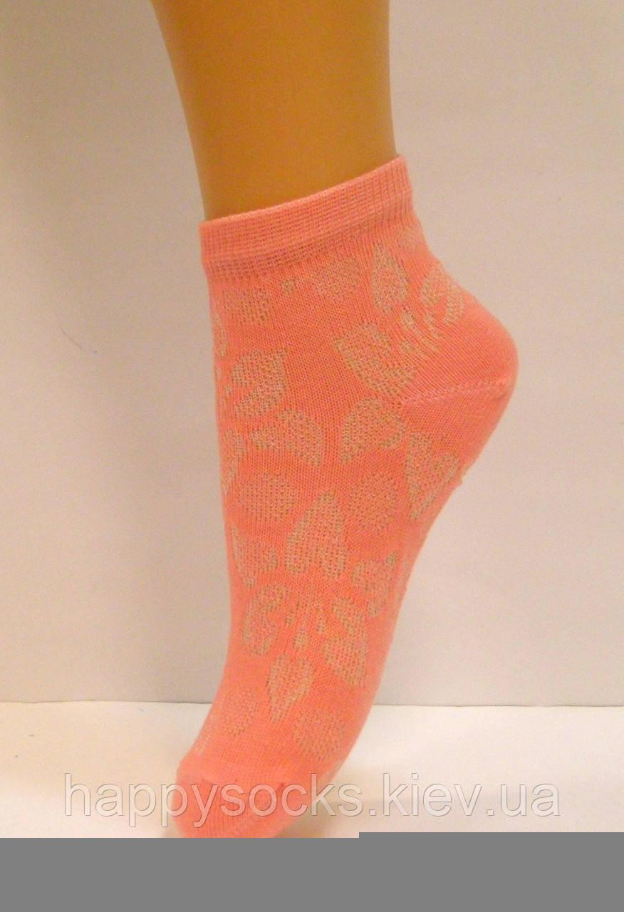 Тонкие летние носки персикового цвета в сетку для девочек