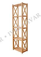 Деревянный стеллаж ШАРМ из массива дуба. 2110*400*290мм. 6 полок