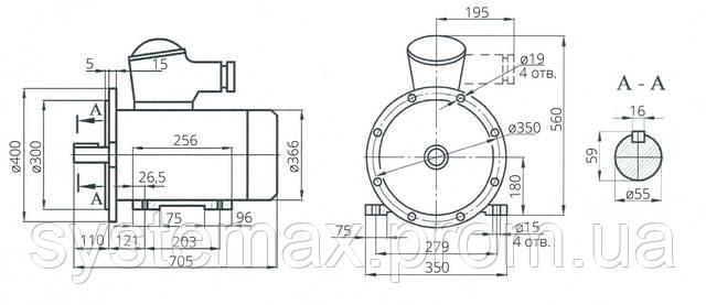 Взрывозащищенный электродвигатель АИМ 180S4 (АИММ 180S2)